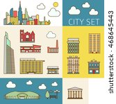 concept of city set of downtown ... | Shutterstock .eps vector #468645443