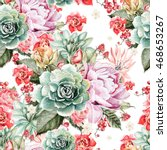 watercolor pattern with peony... | Shutterstock . vector #468653267