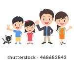 family of four and a cat | Shutterstock .eps vector #468683843