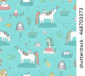 seamless pattern with cute... | Shutterstock .eps vector #468703373