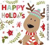 Christmas Card With Reindeer...