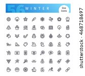 set of 56 winter and christmas... | Shutterstock .eps vector #468718697