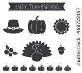 thanksgiving symbols  vector... | Shutterstock .eps vector #468723197