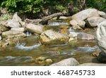 water flow in mountain river   Shutterstock . vector #468745733