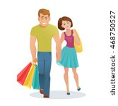 vector young couple man and... | Shutterstock .eps vector #468750527