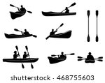kayaking silhouettes vector....
