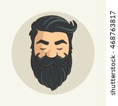 head hipster mustache and beard | Shutterstock .eps vector #468763817