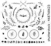 vector set with rustic floral... | Shutterstock .eps vector #468768623
