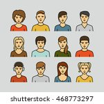 flat line man and woman avatar... | Shutterstock .eps vector #468773297