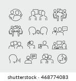 Talking People Line Vector...