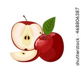 ripe red apple with leaf and... | Shutterstock .eps vector #468806387