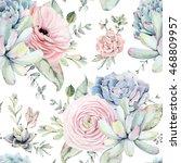 watercolor succulents seamless... | Shutterstock . vector #468809957