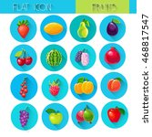 fruits set colorful icon... | Shutterstock .eps vector #468817547