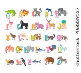 cute cartoon animals alphabet... | Shutterstock .eps vector #468839537