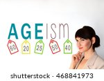 Small photo of Ageism sign on white background