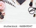 cute feminine stuff on white...   Shutterstock . vector #468849047