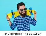 young hipster bearded man with... | Shutterstock . vector #468861527