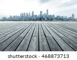 city skyline and wooden floor | Shutterstock . vector #468873713