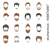men hairstyle icons set with... | Shutterstock .eps vector #468876887