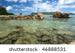 Seychelles seascape. Praslin island. - stock photo