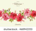 vector hibiscus seamless... | Shutterstock .eps vector #468942353