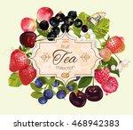 vector berry tea vintage banner.... | Shutterstock .eps vector #468942383
