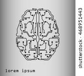 human brain in technological... | Shutterstock .eps vector #468951443