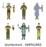 set of fishermen in different... | Shutterstock .eps vector #468961883