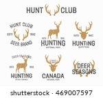 set of vintage hunting and deer ...   Shutterstock . vector #469007597