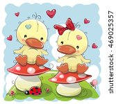 Two Cute Cartoon Ducks Are...