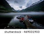 norvegian mist over the lake | Shutterstock . vector #469031903
