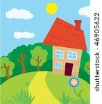 fair scene of house in nature | Shutterstock .eps vector #46905622