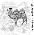 hand drawn ink zentangle camel... | Shutterstock .eps vector #469084997