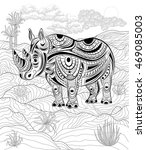 hand drawn ink zentangle... | Shutterstock .eps vector #469085003