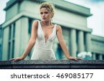 beautiful bride outdoors on a... | Shutterstock . vector #469085177