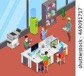 isometric office open space... | Shutterstock .eps vector #469091717