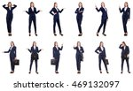 businesswoman in suit isolated... | Shutterstock . vector #469132097