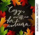 frame of autumn leaves painted... | Shutterstock .eps vector #469156457