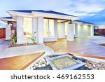 this luxury house has lights on ... | Shutterstock . vector #469162553