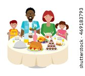happy multicultural family... | Shutterstock . vector #469183793