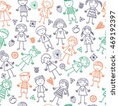 seamless pattern with kids | Shutterstock .eps vector #469192397