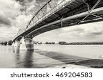 Small photo of Maria Valeria bridge joins Esztergom in Hungary and Sturovo in Slovak republic across the Danube river. Architectural scene. Black and white photo. Transportation theme.
