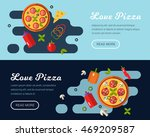 pizza banner in flat style | Shutterstock .eps vector #469209587