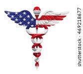 caduceus american flag. 3d... | Shutterstock . vector #469218677