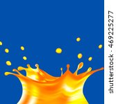 realistic orange juice splash... | Shutterstock .eps vector #469225277
