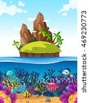 scene with island and fish... | Shutterstock .eps vector #469230773