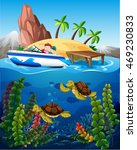 people in boat and turtles... | Shutterstock .eps vector #469230833