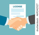 license safety handshake. men... | Shutterstock .eps vector #469242527