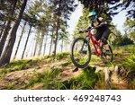 female mountainbiker riding... | Shutterstock . vector #469248743
