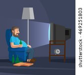 cartoon man watching tv with... | Shutterstock .eps vector #469251803